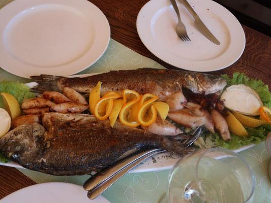 Kroatische Fischplatte in Slavonski Brod!