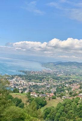 Mit der Zahnradbahn zum Rochers de Naye - herrliche Aussicht auf Vevey und den Genfersee