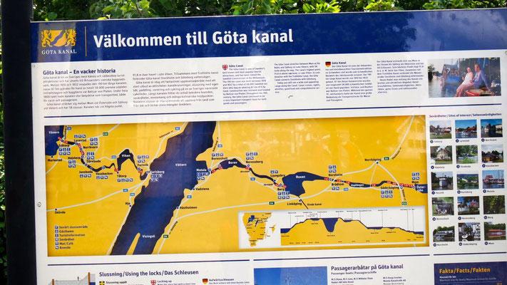Der 190,5 km lange Göta-Kanal verbindet 5 Seen miteinander und passiert 58 Schleusen. 1810-32 von 58'000 schwedischen Soldaten in Handarbeit erbaut!
