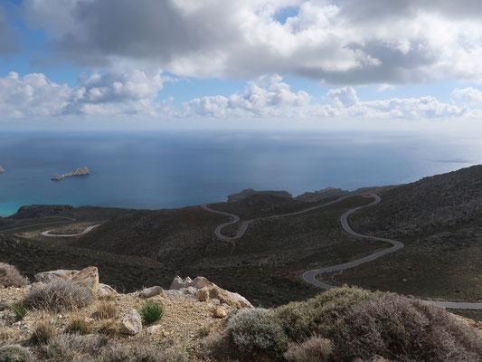 Blick zurück auf unsere Spuren im Südosten der Insel