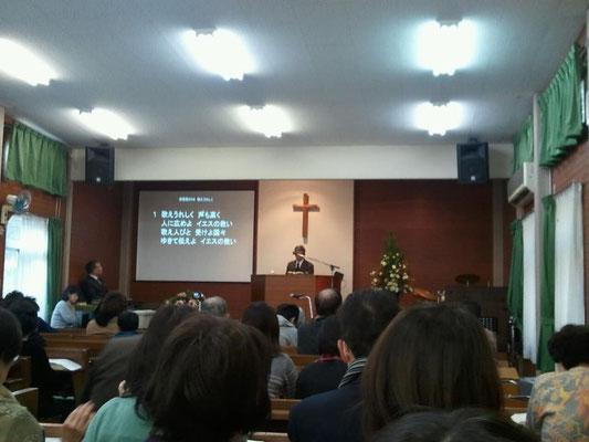能勢川キリスト教会 礼拝の様子