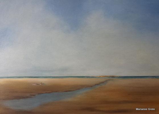 Aufkommender Seenebel, 70 x 100 cm, Acryl auf Leinwand, 2016
