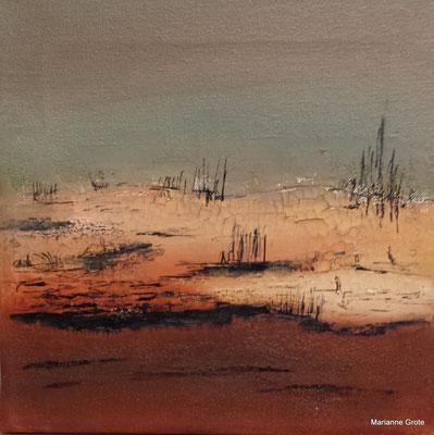 Landschaft II, 20 x 20 cm, Mischtechnik auf Leinwand, 2014
