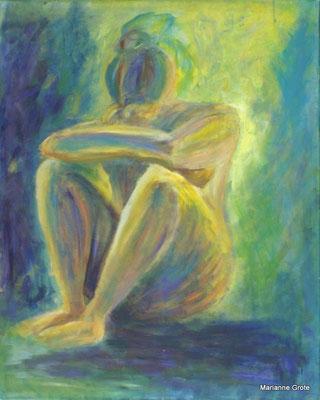 Die grüne Frau, Mischtechnik auf Leinwand, 100 x 70 cm