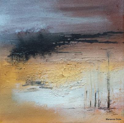 Landschaft I, 20 x 20 cm, Mischtechnik auf Leinwand, 2014