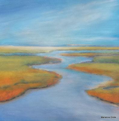 Im Fluss, 70 x 70 cm, Acryl auf Leinwand, 2016