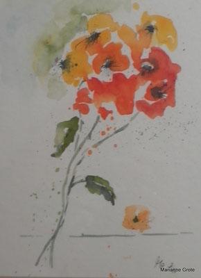Sommerstrauß, Aquarell 21 x 15 cm