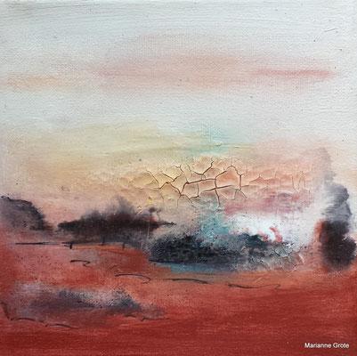 Landschaft III, 20 x 20 cm, Mischtechnik auf Leinwand, 2014
