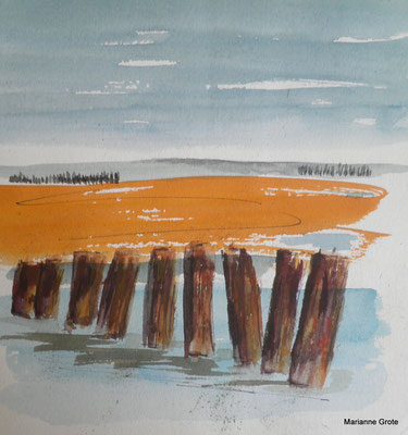 Nordsee, Aquarell, 10 x 15 cm, 2012