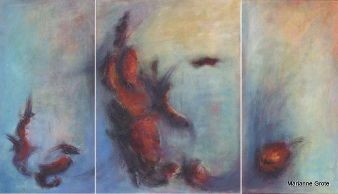 Feuermale, Triptychon, Mischtechnik auf Leinwand, 80  x 140 cm, 2010