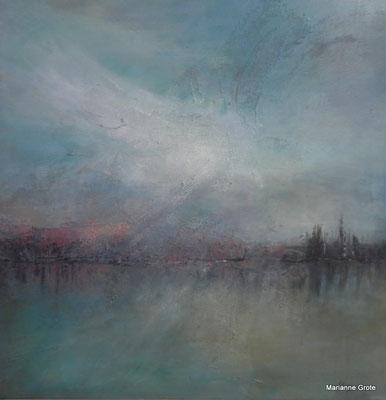 Landschaft, 70 x 70 cm, Mischtechnik auf Leinwand, 2014
