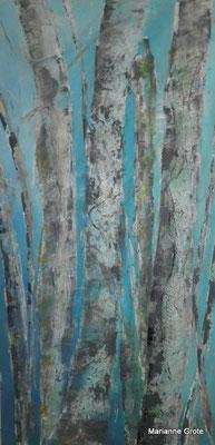 Birken II, Mischtechnik auf Leinwand, 100 x 50 cm