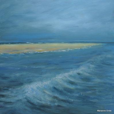 Wellenspiel am Strand, 100 x 100 cm, Acryl auf Leinwand, 2017