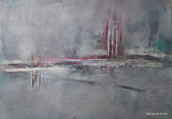 Landschaftsfantasie III, 12 x 17 cm, Acryl auf Karton, 2012