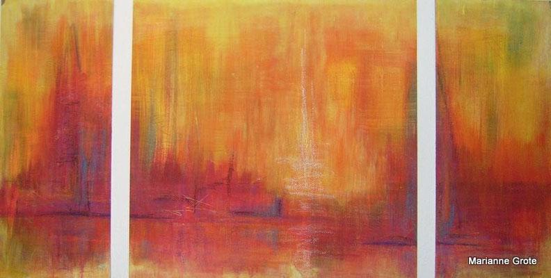 Brennende Zeiten, Mischtechnik auf Karton, 60 x 115 cm, 2012