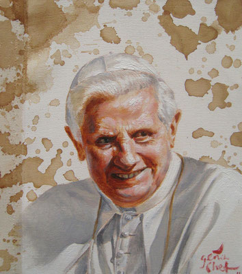 Genia Chef, Portrait of Pope Benedikt, 24 x 21 cm, oil and tea spots on canvas