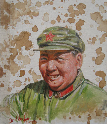 Genia Chef, Portrait of Mao Tse Tung, 24 x 21 cm, oil and tea spots on canvas