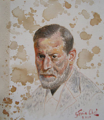 Genia Chef, Portrait of Sigmund Freud, 24 x 21 cm, oil and tea spots on canvas