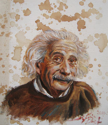 Genia Chef, Portrait of Albert Einstein, 24 x 21 cm, oil and tea spots on canvas