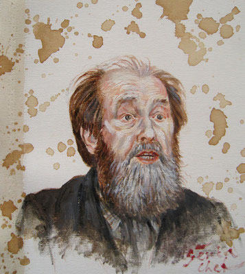 Genia Chef, Portrait of Alexander Solzhenitsyn, 24 x 21 cm, oil and tea spots on canvas