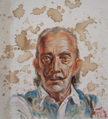 Genia Chef, Portrait of Salvador Dali, 24 x 21 cm, oil and tea spots on canvas