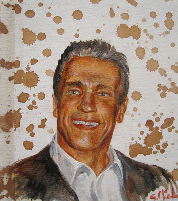 Genia Chef, Portrait of Arnold Schwarzenegger, 24 x 21 cm, oil and tea spots on canvas