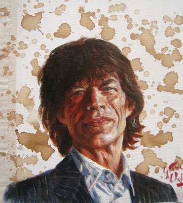 Genia Chef, Portrait of Mick Jagger, 24 x 21 cm, oil and tea spots on canvas