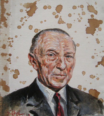 Genia Chef, Portrait of Konrad Adenauer, 24 x 21 cm, oil and tea spots on canvas