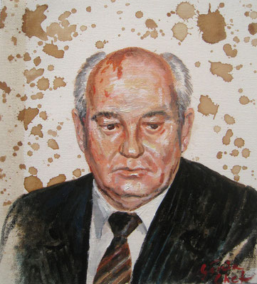 Genia Chef, Portrait of Michail Gorbachev, 24 x 21 cm, oil and tea spots on canvas