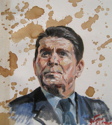 Genia Chef, Portrait of Ronald Reagan, 24 x 21 cm, oil and tea spots on canvas