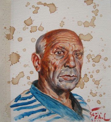 Genia Chef, Portrait of Pablo Picasso, 24 x 21 cm, oil and tea spots on canvas
