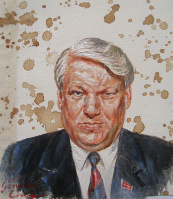 Genia Chef, Portrait of Boris Yeltsin, 24 x 21 cm, oil and tea spots on canvas