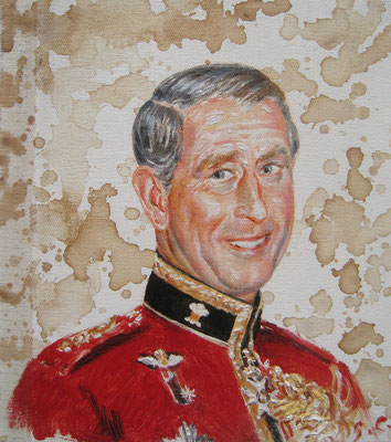 Genia Chef, Portrait of Prince Charles, 24 x 21 cm, oil and tea spots on canvas