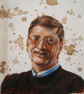 Genia Chef, Portrait of Bill Gates, 24 x 21 cm, oil and tea spots on canvas
