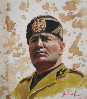 Genia Chef, Portrait of Benito Mussolini, 24 x 21 cm, oil and tea spots on canvas