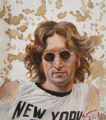 Genia Chef, Portrait of John Lennon, 24 x 21 cm, oil and tea spots on canvas