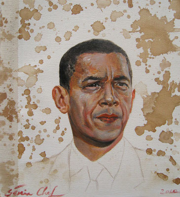 Genia Chef, Portrait of Barack Obama, 24 x 21 cm, oil and tea spots on canvas