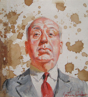 Genia Chef, Portrait of Alfred Hitchcock, 24 x 21 cm, oil and tea spots on canvas
