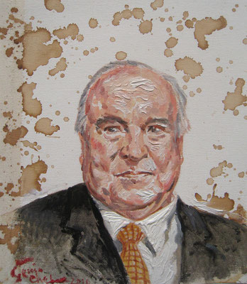 Genia Chef, Portrait of Helmut Kohl, 24 x 21 cm, oil and tea spots on canvas