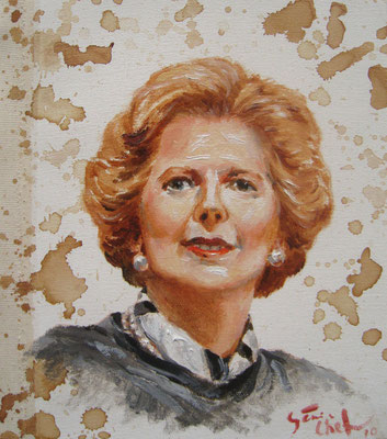 Genia Chef, Portrait of Margret Thatcher, 24 x 21 cm, oil and tea spots on canvas