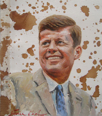 Genia Chef, Portrait of John F.Kennedy, 24 x 21 cm, oil and tea spots on canvas