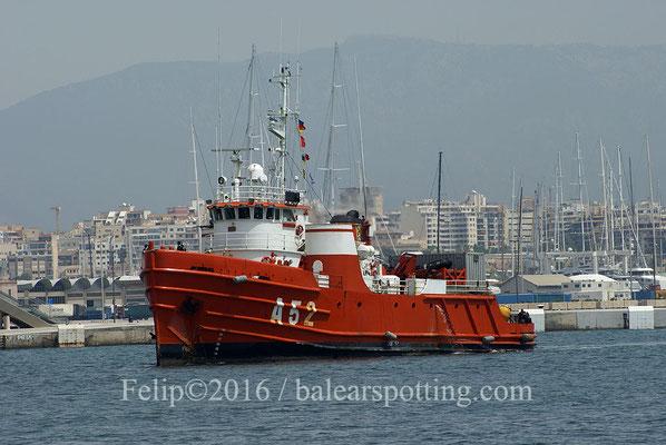 El A52 Las Palmas dirigiendose hacia la Estación Naval de Porto Pi. 26.06.2016