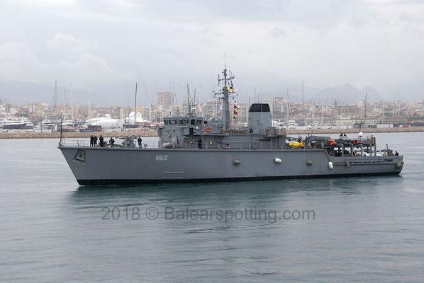 M-62 Evropi entrando en el puerto de Palma el 5 de Mayo del 2018