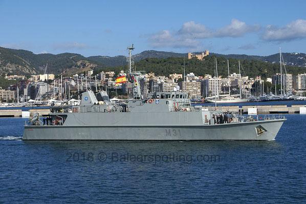 M-31 Segura saliendo de Palma el 13 de Mayo del 2018