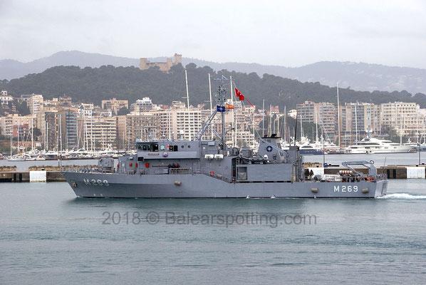 M-269 Anamur entrando en el puerto de Palma el 5 de Mayo del 2018
