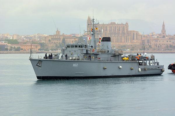 M-62 Evropi entrando en Palma el 5 de Mayo de 2018, integrado en la SNMCMG-2