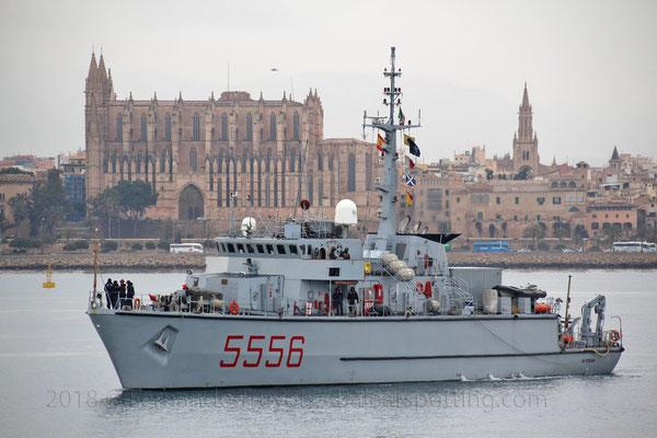 5556 Alghero entrando en Palma el 5 de Mayo de 2018, integrado en la SNMCMG-2