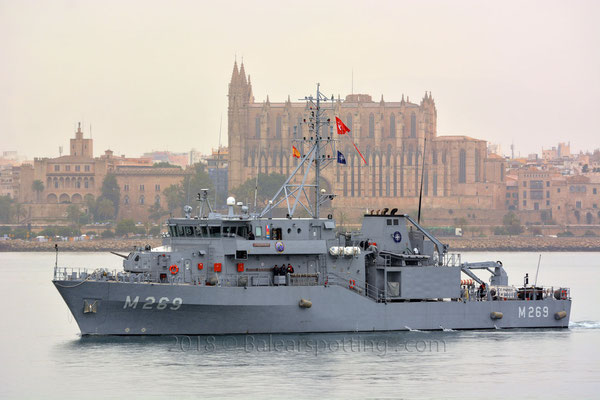 M-269 Anamur entrando en Palma el 5 de Mayo de 2018, integrado en la SNMCMG-2