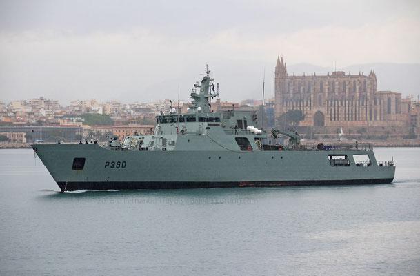 P-360 Viana do Castelo entrando en Palma el 5 de Mayo de 2018 integrado en la EUVNAVFOR