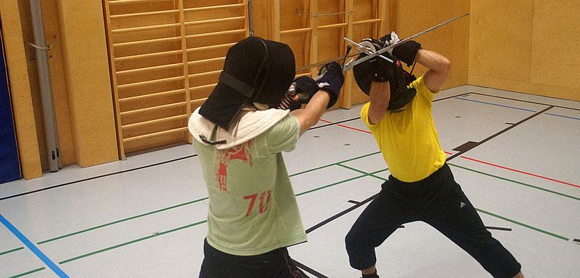 Martin und Flo beim Schwertkampftraining